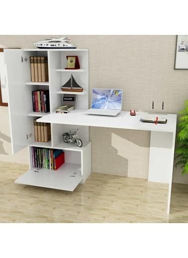 Dekorister Domingos Kitaplıklı Çalışma Masası Beyaz Renkli